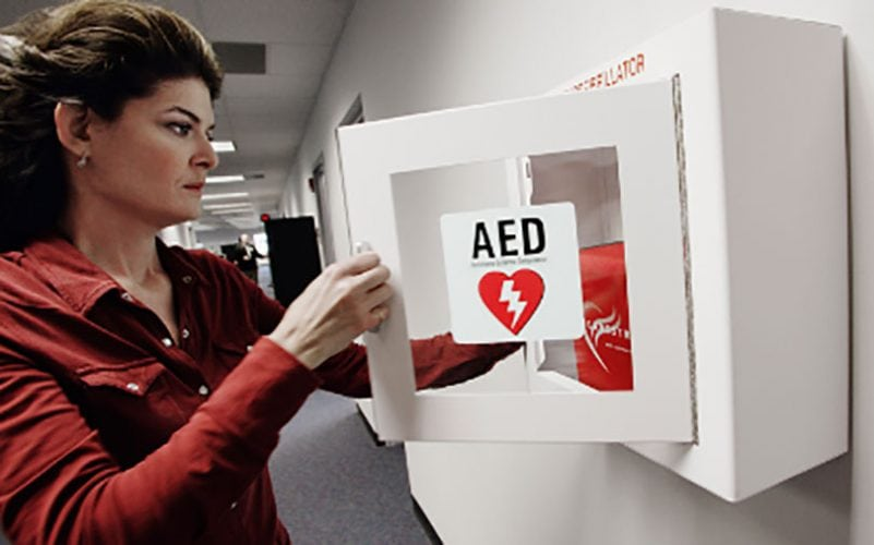image AEDonWall 811x506 - Is Your School Prepared to Respond to a Cardiac Emergency?