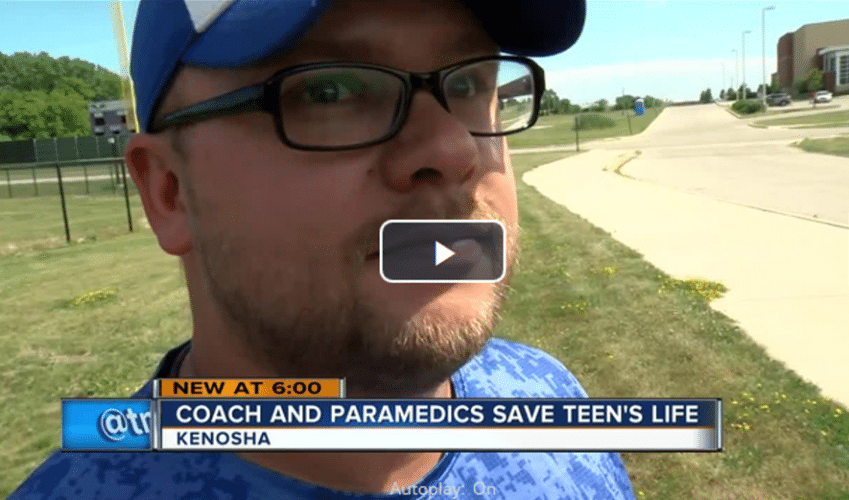 Kenosha baseball coach saves teen's life during practice