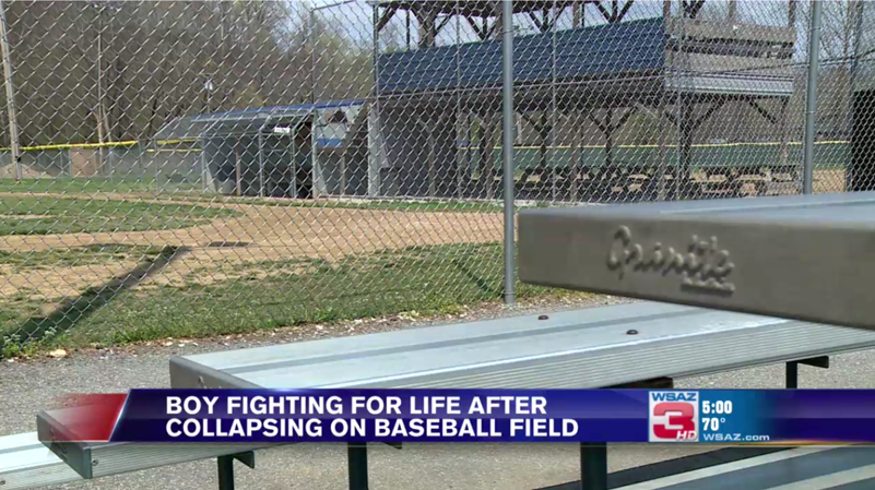 Boy collapses at baseball practice
