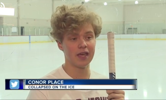 Man uses defibrillator to save 15-year-old hockey player who collapsed on ice during practice